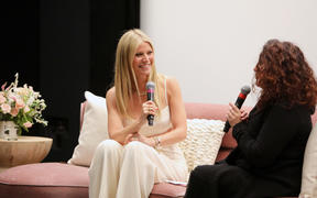 LOS ANGELES, CALIFORNIA - JANUARY 21: (L-R) Gwyneth Paltrow and Michaela Boehm speak onstage during the goop lab Special Screening in Los Angeles, California on January 21, 2020.   Rachel Murray/Getty Images/AFP