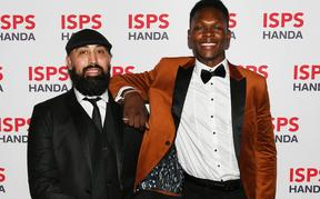 Eugene Bareman and Israel Adesanya.57th annual ISPS Handa Halberg Awards for sporting excellence by the Halberg Disability Sport Foundation. Spark Arena, Auckland, New Zealand. Thursday 13 February 2020
