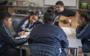 Students take part in the Aha Mentoring Programme facilitated by the Pasifika Foundation which uses music to engage with vulnerable youth. Oct 2015