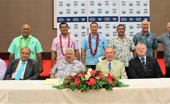 Samoa Government and Rugby League officials at the launch of the inaugural World Nines Confederation Cup (WNCC) Tournament held in Apia.