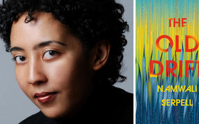 "Namwali Serpell and the cover of her book ""The Old Drift"""