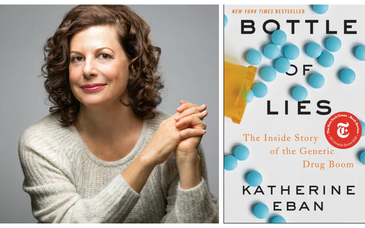 "Katherine Eban and the cover of her book ""Bottle of Lies"""