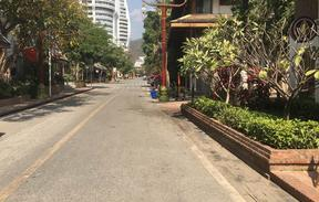 An empty street in Jinghong, China.