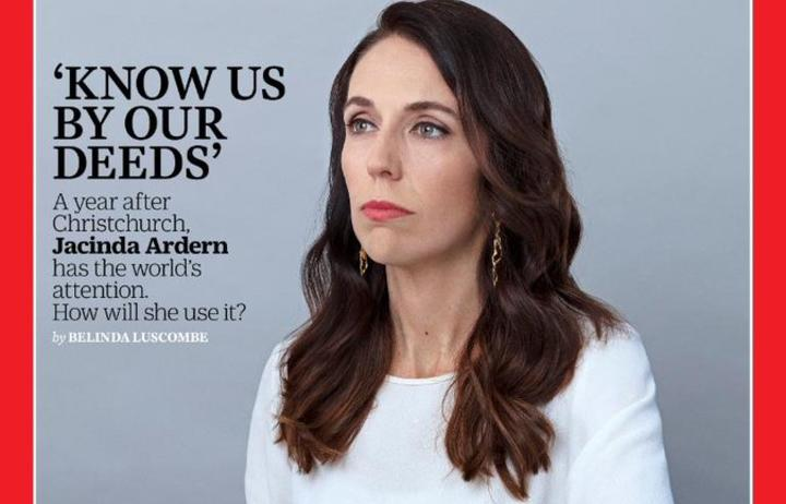 Jacinda Ardern features on the cover of the  2 March issue of TIME magazine.