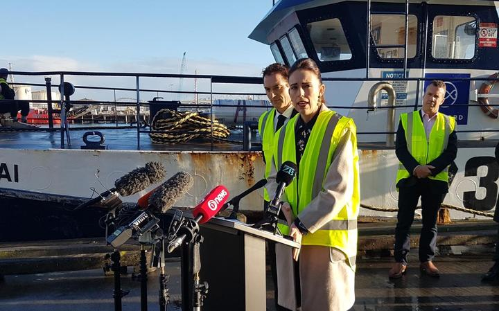 PM Jacinda Ardern and Fisheries Minister Stuart Nash, left,announcing commercial fishing vessels deemed to be at the greatest risk of encountering Māui dolphins will be required to operate with on-board cameras from November.