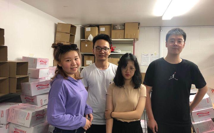Summer Xia, Allan Sun, Rong Kuang and Hengda Qin, students at the University of Auckland and also members of New Zealand Chinese Students Association.