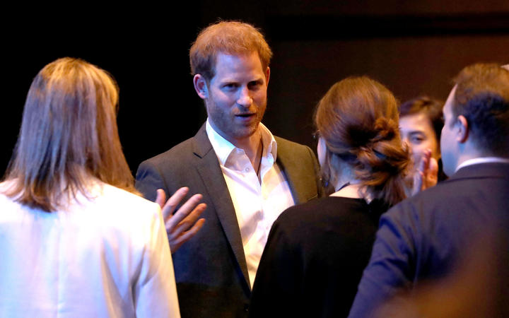 Britain's Prince Harry, Duke of Sussex, speaks to delegates as he attends a sustainable tourism summit at the Edinburgh International Conference Centre in Edinburgh.