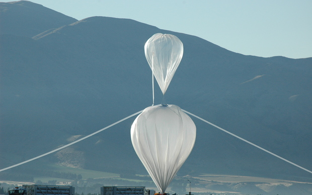 The balloon being inflated at Wanaka Airport