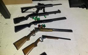 Guns seized by police during a raid on a Mongols MC house south of Christchurch.