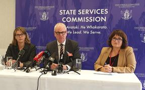 From left, Treasury Secretary Dr Caralee McLiesh, State Services Commissioner Peter Hughes and investigation leader Jenn Bestwick.