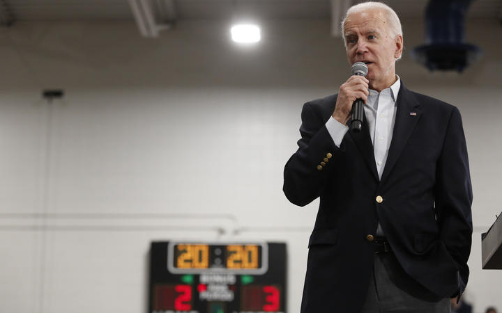 Democratic presidential candidate former Vice President Joe Biden speaks during a campaign event in Des Moines, Iowa, 2 February.
