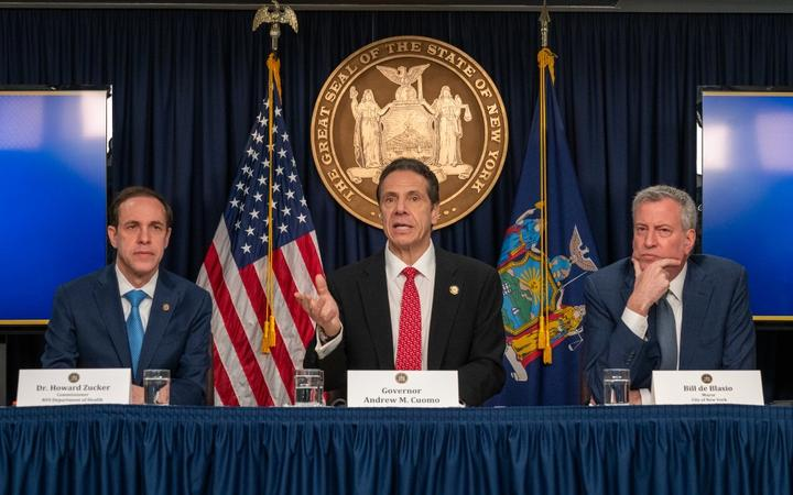 New York state Gov. Andrew Cuomo (C), New York City Mayor Bill DeBlasio (R) and New York state Department of Health Commissioner Howard Zucker hold a news conference on the first confirmed case of COVID-19 in New York .