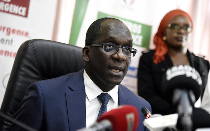 Senegal Health's minister Ablaye Diouf Sarr speaks during a press conference as Senegal's first case of Covid-19 was confirmed.