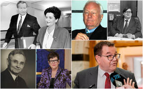 Clockwise: Jim Bolger and Ruth Richardson in 1991, Roger Douglas, David Lange, Grant Robertson, Jenny Shipley and Michael Joseph Savage.