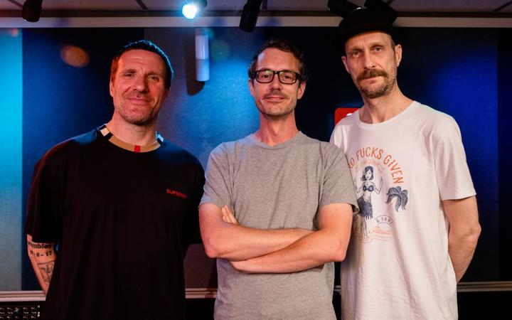 Jason Williamson & Andrew Fearn (Sleaford Mods) with RNZ's Tony Stamp