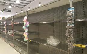 Empty supermarket shelves after news of the first New Zealand case of the Covid-19 coronavirus.