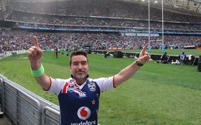 Warriors mega-fan Dai Henwood at the 2011 Grand Final in Sydney.