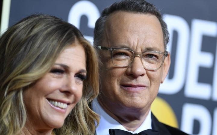 US actor Tom Hanks and wife Rita Wilson arrive for the 77th annual Golden Globe Awards on January 5, 2020,