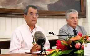 French Polynesia president Edouard Fritch confirms the Pacific region's first case of Covid-19 at a news conference in Tahiti on Thursday.