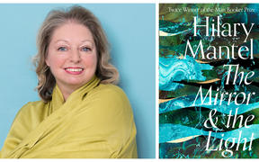 "Hilary Mantel and the cover of her book ""The Mirror & the Light"""