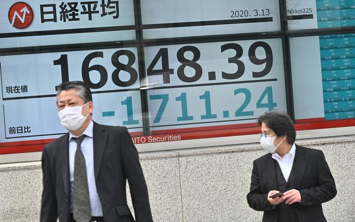 Pedestrians walk past an electronic board showing the numbers for the Nikkei 225 index on the Tokyo Stock Exchange in Tokyo.