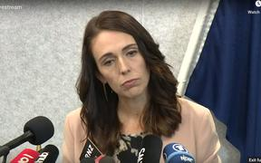 PM Jacinda Ardern addresses reporters from around the world on Friday.