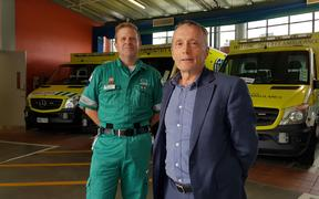 Paul Fake from Wellington Free Ambulance's executive team and Capital & Coast DHB's mental health spokesperson Nigel Fairley at the launch.