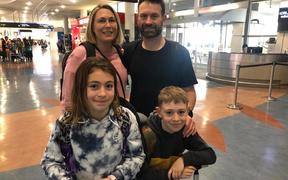 Maree Glading and her family setting off on their trip, which was cut short by the Covid-19 pandemic.