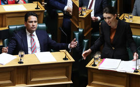 Leader of the Opposition Simon Bridges and Prime Minister Jacinda Ardern during Question Time.