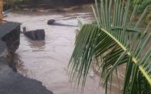 Part of the road washed away in Lano, Savaii