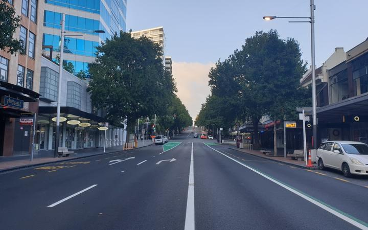 An empty Queen St in Auckland on lockdown 24 March 2020