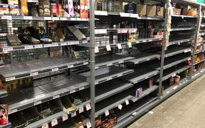 Empty shelves on the day before lockdown