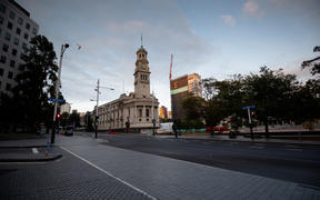 Auckland's Queen Street on the morning of 26 March, on the first day of the nationwide Covid-19 lockdown.