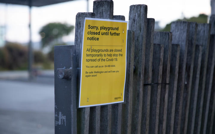 A playground in Oriental Bay closed off on 26 March, the first day of the nationwide lockdown.