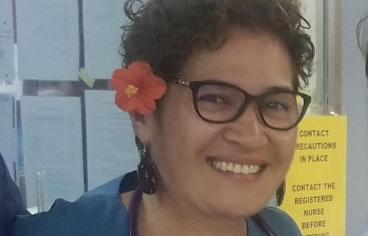 Dr Leinani Aiono-le Tagaloa, pictured last November during her time in Samoa, helping to fight the measles outbreak.