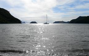 Sailing yacht at rest, Great Barrier Island, New Zealand.