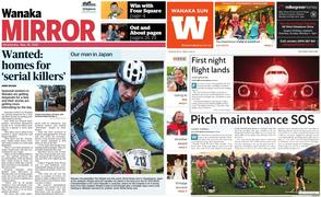 Front pages of rival papers: the locally-owned Wanaka Sun and its fairfax media rival Wanaka Mirror