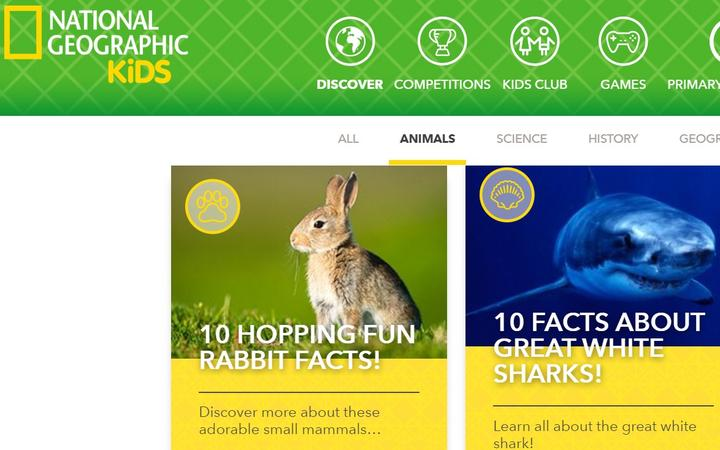 Animal section on the National Geographic Children's website.