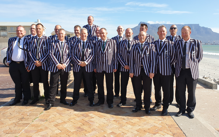 The New Zealand over 50s cricket team at the World Cup in Cape Town, South Africa.