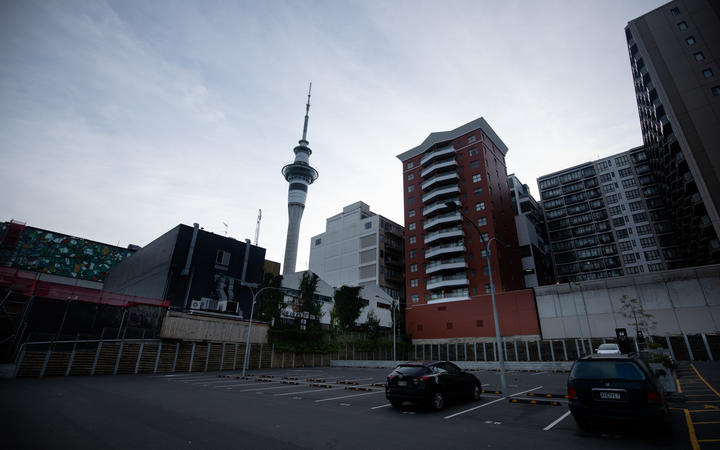 Auckland central on the morning of 26 March, on the first day of the nationwide Covid-19 lockdown.