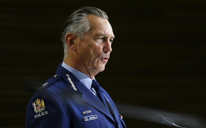 WELLINGTON, NEW ZEALAND - APRIL 02: Outgoing Police Commissioner Mike Bush speaks to media during a press conference at Parliament on April 02, 2020 in Wellington, New Zealand. (Photo by Hagen Hopkins/Getty Images)