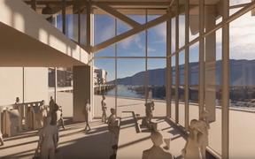 An artist's interpretation of what Picton's proposed new Interislander ferry terminal will look like.