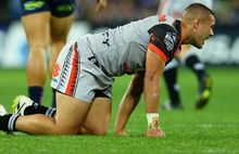 Tuimoala Lolohea after his knee injury in Melbourne, Australia. Anzac Day, Monday 25 April 2016. © Copyright Image: Jeff Crow / www.photosoprt.nz