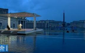 Pope Francis praying in an empty St Peter's Square, while Rome is in lockdown due to Covid-19.