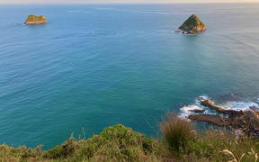Taranaki coast looking towards Moturoa Island and Tokomapuna Island from New Plymouth.