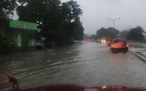 Flooding along the Kukum Highway in the Solomon Islands capital Honiara. Cyclone Harold 3 April 2020.