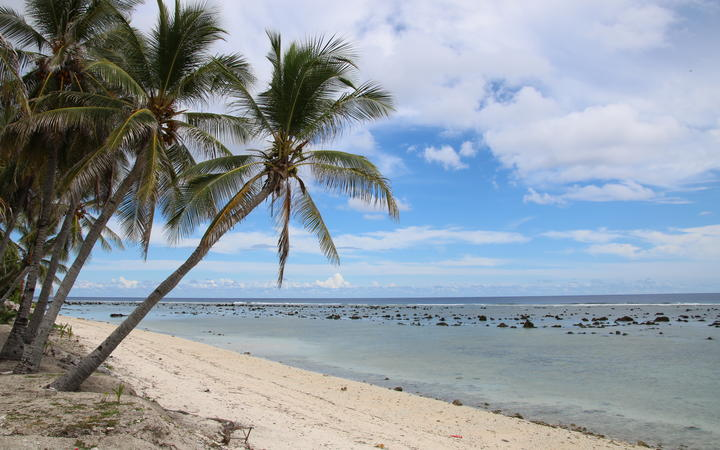 This photograph taken on September 2, 2018 shows a beach view in Ewa on the Pacific island of Nauru.