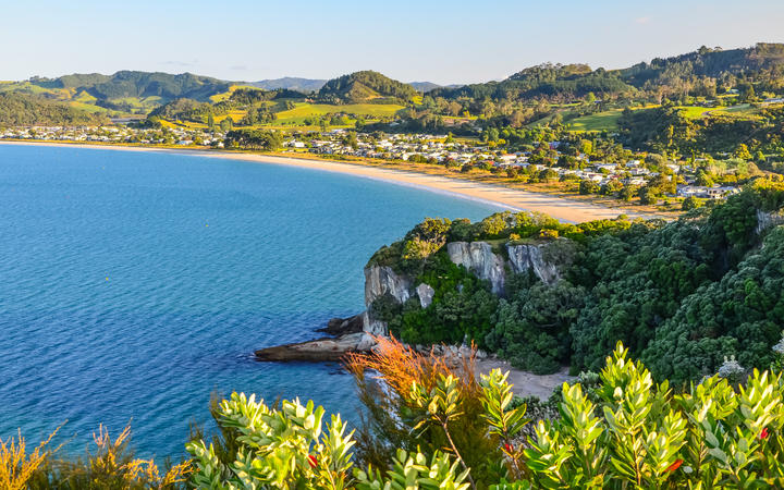 Sunset View of Cooks Beach from Shakespeare Cliff Lookout at Coromandel Peninsula, North Island, New Zealand.