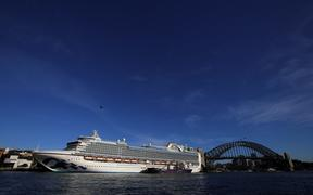 SYDNEY, AUSTRALIA - MARCH 19: The Ruby Princess cruise ship is seen docked at at the Overseas Passenger Terminal, days