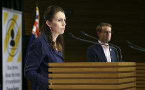 Prime Minister Jacinda Ardern and Director-General of Health Ashley Bloomfield during a press conference at Parliament on 5 April 2020. New Zealand was placed in complete lockdown and a state of national emergency was declared on Thursday 26 March to stop the spread of COVID-19 across the country.